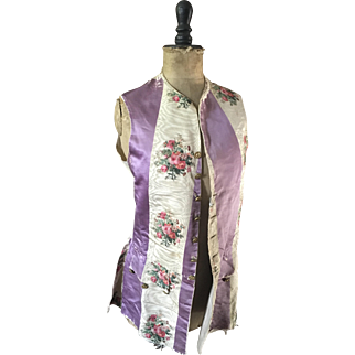 Theatrical Waistcoat - Floral and Striped Moire Silk circa 1920's
