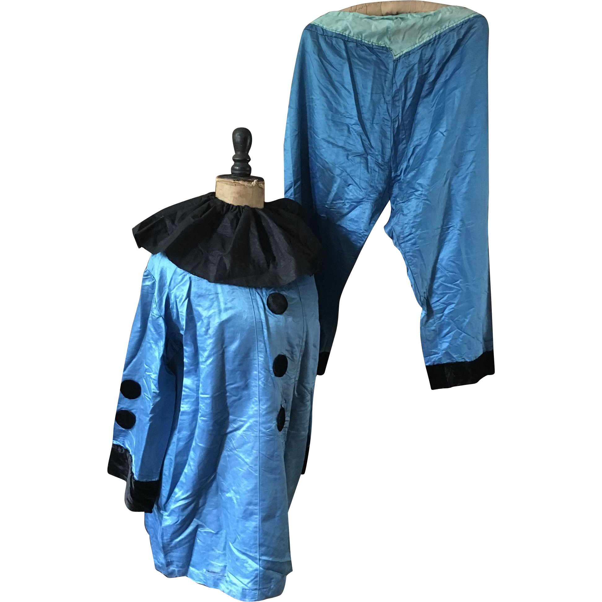 Pierrot Costume, Blue with Collar - Circa 1920's/30's
