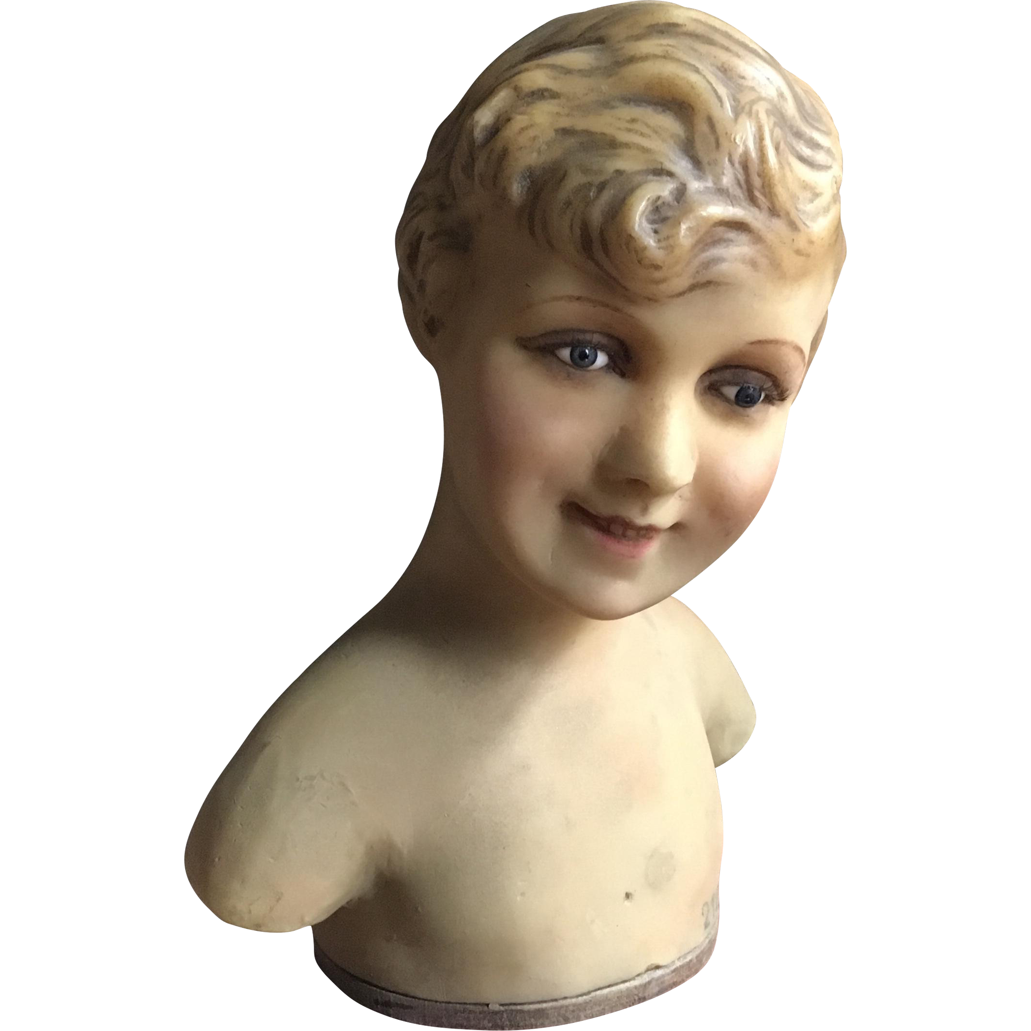 Circa 1920's Wax Mannequin Bust of a Child