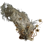Original Antique Edwardian Rhinestone and Feather Tremblé Hair Ornament, circa 1905