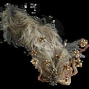 Original Antique Edwardian Rhinestone and Feather Tremblé Hair Ornament, circa 1905