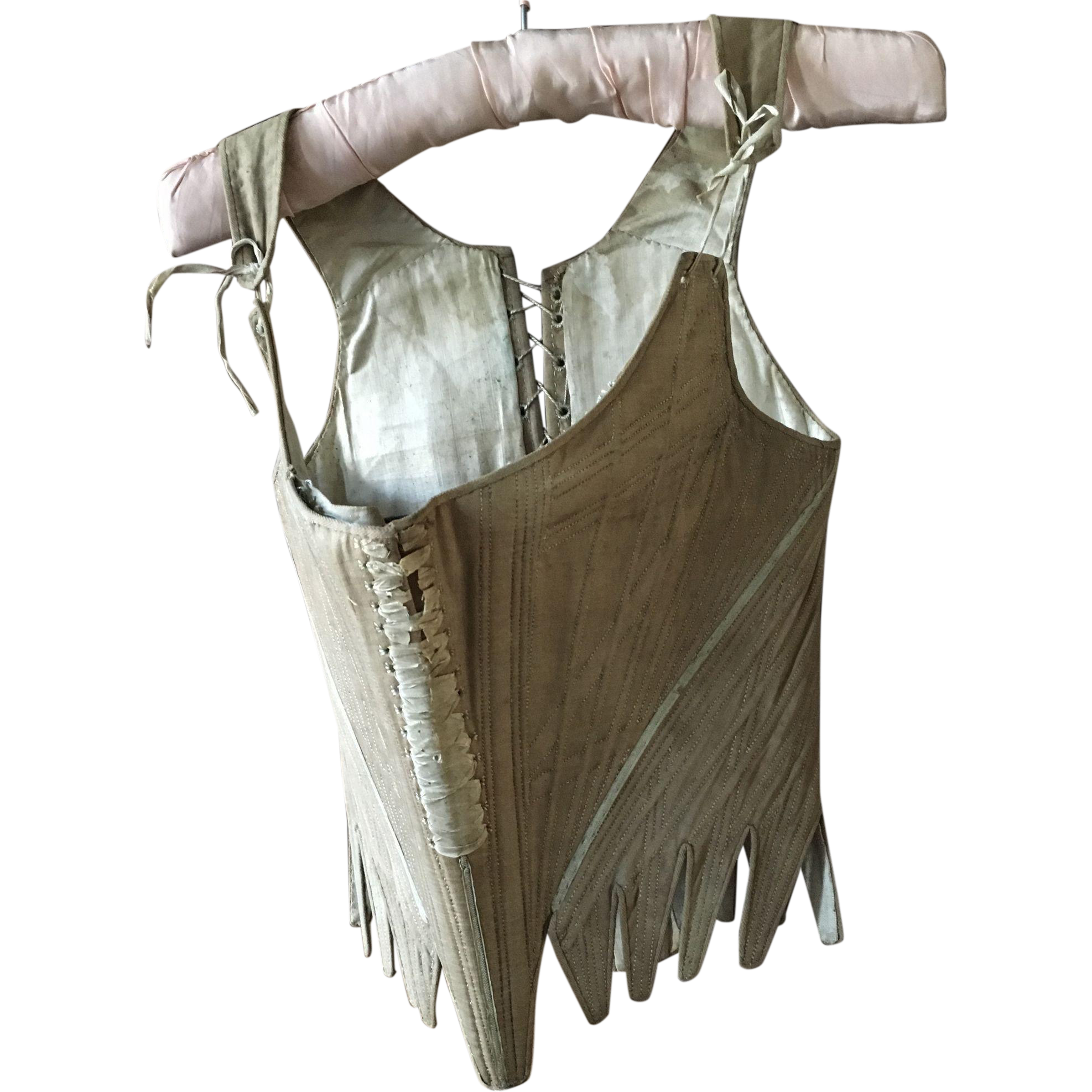 Very rare set of 18th century Stays/Corset in Cotton and Linen