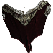 Circa 1880's Antique Victorian Deep Red Velvet Bodice with Gold Metallic lace