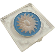 Carved and Painted Clear Lucite Compact Blue Flower Mirror Mesh Pad