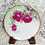 """Richard Ginori Italy Hand Painted Ruby Roses  7.75"""" Plate Signed G. Barig"""