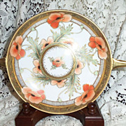 """Antique Nippon RC Hand Painted  7.25"""" Handled Bowl w/ Poppies Beautiful Gold Embellishment"""