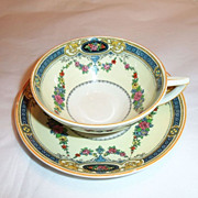 Myott Staffordshire England Cup and Saucer Floral Enamel Garland Blue Border