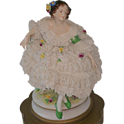 Two Aelteste Volkstedter Volkstedt German Dresden Lace Lady Figurine 26 inch Lamps