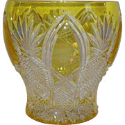 Faberge Imperial Czar Cut to Clear Amber Gold signed Votive