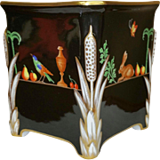Tiffany & Co Private Stock Altelier Le Tallec Black Shoulder Design Signed Hand Painted Jardiniere
