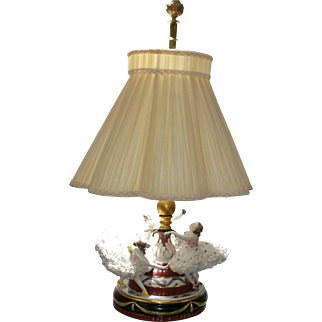 Vintage German Dresden Lace Ballerina Figurine  26 inch Porcelain Lamp