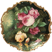 Limoges Master Artist Duval Signed Large Porcelain Charger Plaque Reflecting Roses