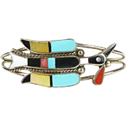 D Wallace Native American Zuni handcrafted Sterling Silver Inlaid Peyote Water Bird Cuff Bracelet Z37