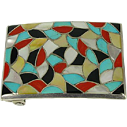 Zuni Native American ELB Inlay Fish Scale Sterling Belt Buckle Z48