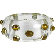 Vintage Lucite Bangle with Tigers Eye Gems that is Circa 1960's