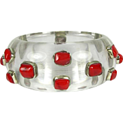 Stunning Vintage Lucite Bangle with Coral Gems that is Circa 1960's
