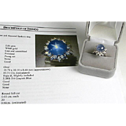 Certified 14k White Gold Natural 10.31ct 6 Ray Star Sapphire and .60ctw Diamond Ring
