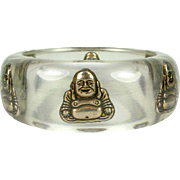 Vintage Lucite Bangle with Gold Toned Buddha's Circa 1960's