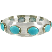 Vintage Lucite Bangle with Turquoise Gems that is Circa 1960's