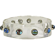 Vintage Lucite Bangle with Labradorite Gems that is Circa 1960's
