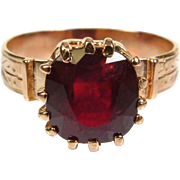 Antique Victorian 1800's 14k Rose Gold 4ct Natural Oval Cut Ruby Engraved Ring