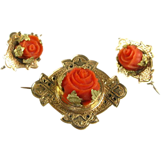 Antique Victorian Natural Carved Coral Rose Flower Floral Gold Filled Pin Brooch & Earring Set