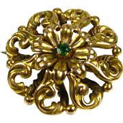 Stunning Antique Victorian Natural 5pt Round Cut Emerald 14k Yellow Gold Floral Pin Brooch