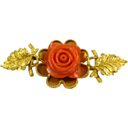 Antique Victorian Natural Carved Coral Rose Flower Floral Leafy 14lk Yellow Gold Pin Brooch
