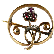 Antique Victorian Natural Mine Cut Diamond & Ruby 14k Yellow Gold Floral Pin Brooch