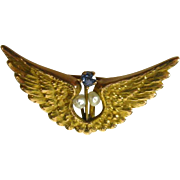 Antique Victorian 1800's 14k Yellow Gold Blue Sapphire & Pearl Open Wing Pin Pendant