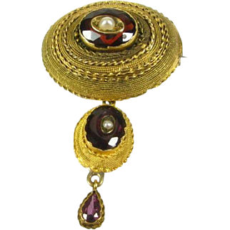 Victorian 1800's Natural Garnet and Pearl 14k Yellow Gold Dangling Pin Brooch