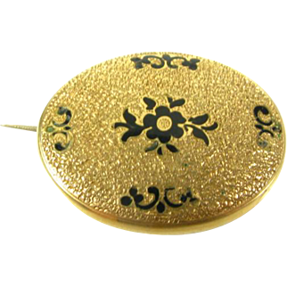 Antique Victorian 1800s Engraved Black Enameled Floral Gold Filled Pin Brooch
