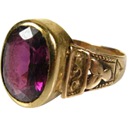 Victorian 1820's 14k Rose Gold 1.75ct Natural Oval Cut Amethyst Solitaire Floral Ring