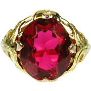 Unusual Antique Victorian 10k Yellow Gold 4ct Natural Oval Cut Red Spinel Solitaire Floral Ring