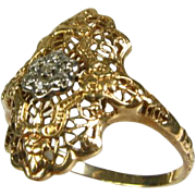 Antique Edwardian .07ctw Natural Round Cut Diamond 10k 2 Tone Gold Floral Filigree Ring