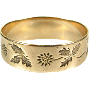 Victorian 10k Yellow Gold Hand Engraved Floral Leafy 6mm Eternity Band Ring