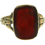Victorian 10k Yellow Gold 3ct Natural Carnelian Solitaire Ring