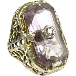 Antique Edwardian 6ct Amethyst and Diamond 18k White Gold Filigree Ring
