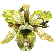 Beautiful Victorian Enameled & 14k Yellow Gold Seed Pearl Floral Flower Pin Brooch