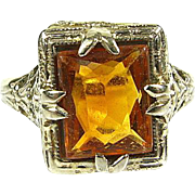 Antique Edwardian 2.5ct Natural Emerald Cut Citrine 14k White Gold Filigree Ring