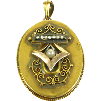 Antique Victorian Pearl & Seed Pearl 14k Yellow Gold Locket Pendant