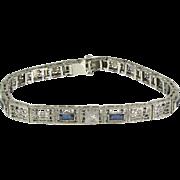 Art Deco 10k White Gold Filigree Sapphire & Diamond French Cut Bracelet