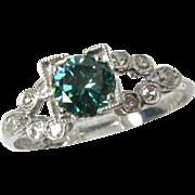 Pristine Antique Platinum VVS-VS .50ct Blue & White Diamond Ladies Ring