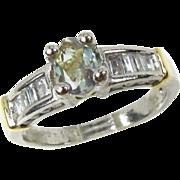 Beautiful Estate PLATINUM & 18k Yellow Gold 1ct Alexandrite & Diamond Ladies Ring