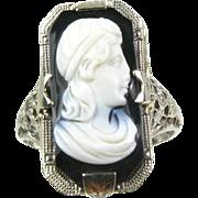 Antique Edwardian 14k White Gold Black Cameo Filigree Ladies Ring