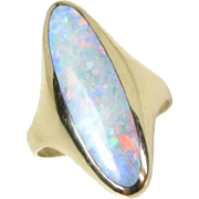 Pristine 14k Yellow Gold Victorian Inlaid Australian Opal Ladies Ring