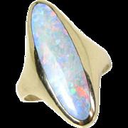 Pristine 14k Yellow Gold Victorian Inlaid Australian Opal Ladies Ring