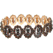 Antique Victorian Rose Gold Filled Bohemian Garnet Ladies Bracelet
