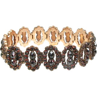 Antique Victorian Rose Gold Filled Bohemian Garnet Ladies Bracelet