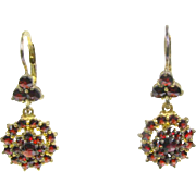 Antique Victorian Gold Filled Bohemian Garnet Ladies Dangle Earrings